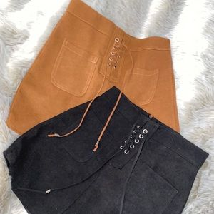 Front tye Faux Suede Skirts small